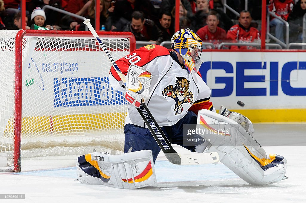 Scott Clemmensen of the Florida Panthers makes a save against the Washington Capitals at the Verizon Center on January 8 2011 in Washington DC