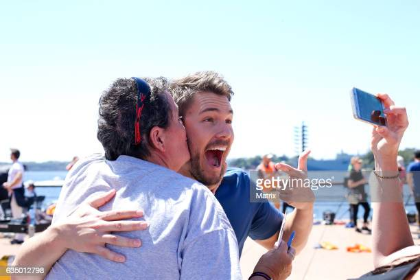 Scott Clifton hams it up on set of Bold and the Beautiful on February 13 2017 in Sydney Australia