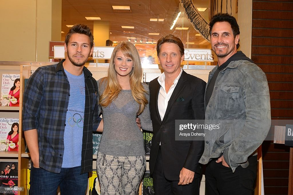 <a gi-track='captionPersonalityLinkClicked' href=/galleries/search?phrase=Scott+Clifton&family=editorial&specificpeople=675202 ng-click='$event.stopPropagation()'>Scott Clifton</a>, Kim Matula, <a gi-track='captionPersonalityLinkClicked' href=/galleries/search?phrase=Bradley+Bell&family=editorial&specificpeople=627792 ng-click='$event.stopPropagation()'>Bradley Bell</a> and <a gi-track='captionPersonalityLinkClicked' href=/galleries/search?phrase=Don+Diamont&family=editorial&specificpeople=606917 ng-click='$event.stopPropagation()'>Don Diamont</a> arrive at the <a gi-track='captionPersonalityLinkClicked' href=/galleries/search?phrase=Bradley+Bell&family=editorial&specificpeople=627792 ng-click='$event.stopPropagation()'>Bradley Bell</a> And Cast Members Of 'The Bold And The Beautiful' Book Signing at Barnes & Noble bookstore at The Grove on November 13, 2012 in Los Angeles, California.