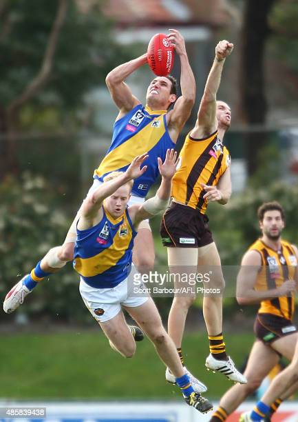 Scott Clouston of Williamstown takes a mark during the round 20 VFL match between Box HIll and Williamstown at Box City Oval on August 30 2015 in...