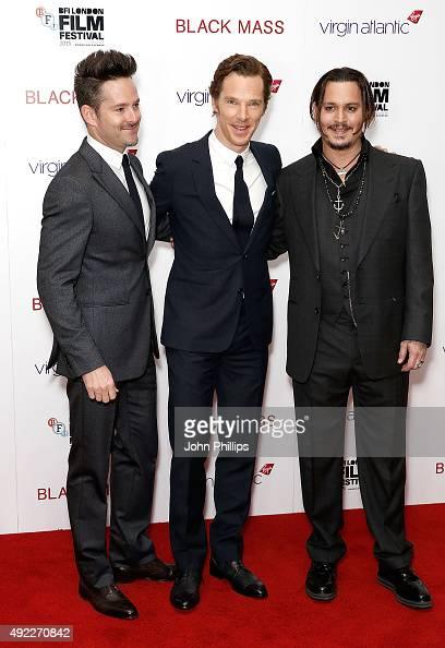 Scott Cooper Benedict Cumberbatch and Johnny Depp attend the 'Black Mass' Virgin Atlantic Gala screening during the BFI London Film Festival at Odeon...