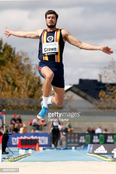 Scott Crowe competes in the men's long jump final during the 92nd Australian Athletics Championships on April 6 2014 in Melbourne Australia