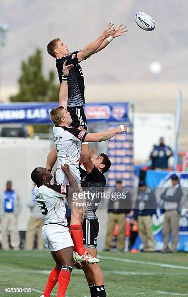 Scott Curry of New Zealand catches the ball during a lineout against John Moonlight of Canada during the USA Sevens Rugby tournament at Sam Boyd...