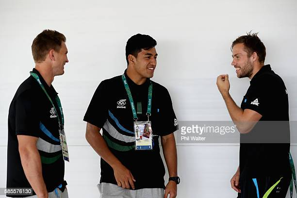 Scott CurryReiko Ioane and Tim Mikkelson of the New Zealand Mens Rugby Sevens team during a press conference ahead of the 2016 Olympic Games on...