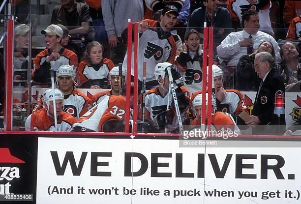 Scott Daniels Eric Desjardins Rod Brind'Amour Trent Klatt Karl Dykhuis Daniel Lacroix and Mikael Renberg of the Philadelphia Flyers sit in the...