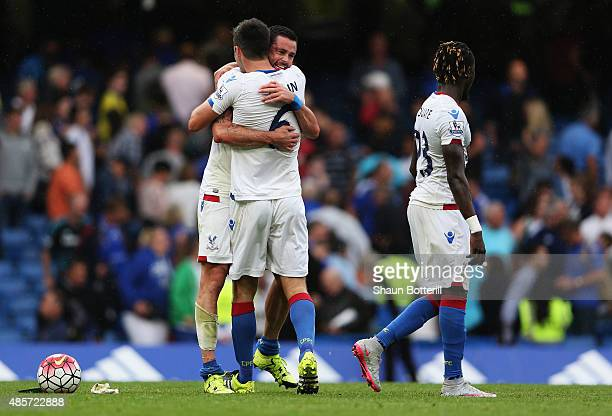 Scott Dann of Crystal Palace and Damien Delaney of Crystal Palace celebrate after the final whistle during the Barclays Premier League match between...