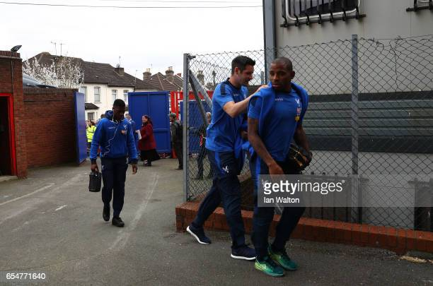 Scott Dann of Crystal Palace and Jason Puncheon of Crystal Palace arrive at the stadium prior to the Premier League match between Crystal Palace and...