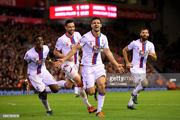 Scott Dann of Crystal Palace celebrates scoring his side's second goal during the Barclays Premier League match between Liverpool and Crystal Palace...