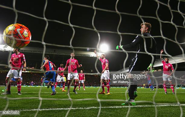 Scott Dann of Crystal Palace celebrates scoring his team's first goal past Artur Boruc of Bournemouth during the Barclays Premier League match...