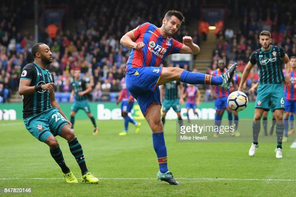 Scott Dann of Crystal Palace clears the ball during the Premier League match between Crystal Palace and Southampton at Selhurst Park on September 16...