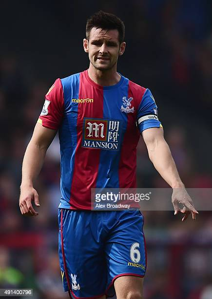 Scott Dann of Crystal Palace gestures during the Barclays Premier League match between Crystal Palace and West Bromwich Albion at Selhurst Park on...