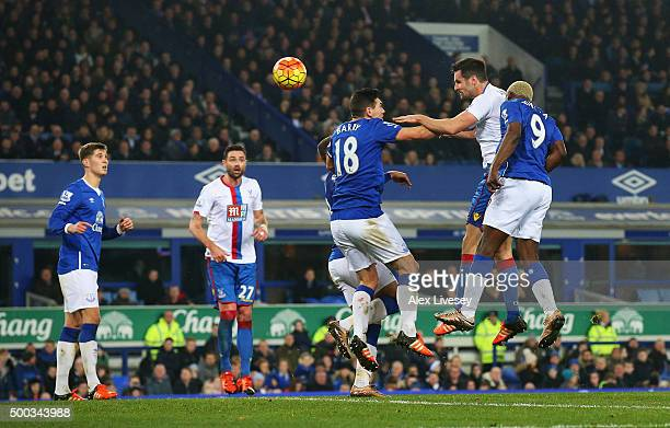 Scott Dann of Crystal Palace scores the opening goal during the Barclays Premier League match between Everton and Crystal Palace at Goodison Park on...
