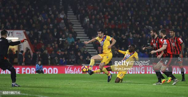 Scott Dann of Crystal Palace scores the opening goal during the Premier League match between AFC Bournemouth and Crystal Palace at Vitality Stadium...