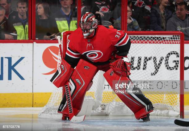Scott Darling of the Carolina Hurricanes crouches in the crease to protect the net during an NHL game against the Chicago Blackhawks on November 11...