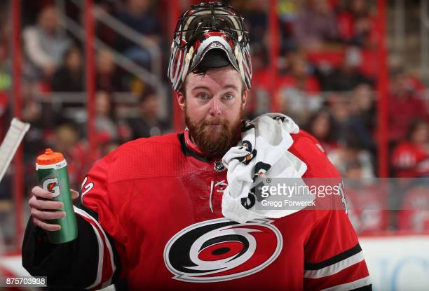 Scott Darling of the Carolina Hurricanes gets a drink of water duing a time out of an NHL game against the Chicago Blackhawks on November 11 2017 at...