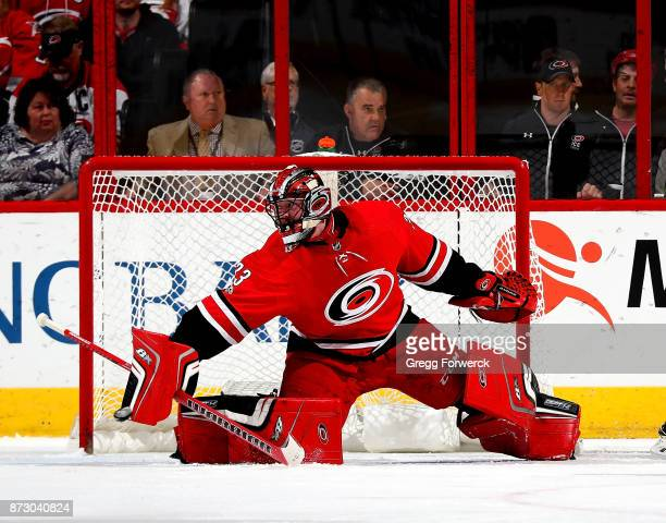 Scott Darling of the Carolina Hurricanes goes down in the crease and keeps his eye on the puck during an NHL game against the Chicago Blackhawks on...