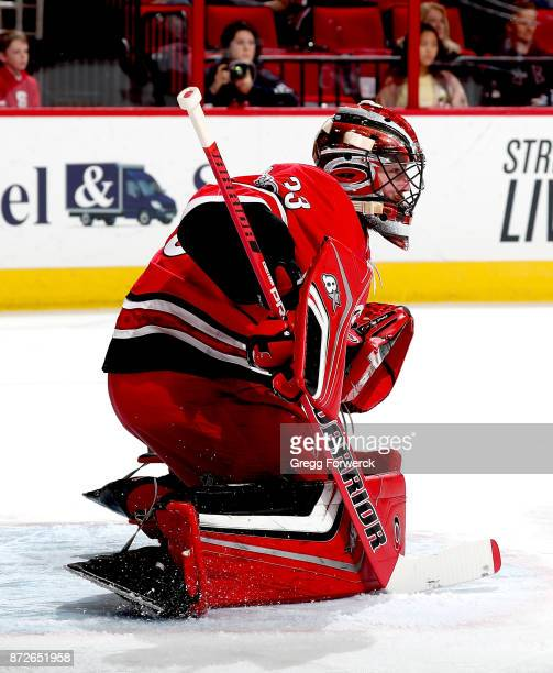 Scott Darling of the Carolina Hurricanes goes down in the crease to protect the net during an NHL game against the Florida Panthers on November 7...