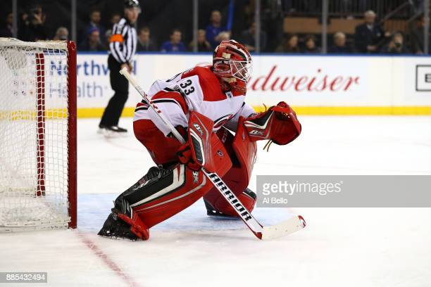Scott Darling of the Carolina Hurricanes in action against the New York Rangers during their game at Madison Square Garden on December 01 2017 in New...
