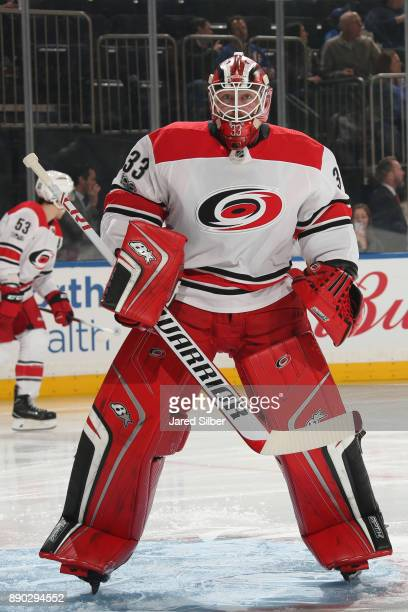 Scott Darling of the Carolina Hurricanes looks on against the New York Rangers at Madison Square Garden on December 1 2017 in New York City The New...