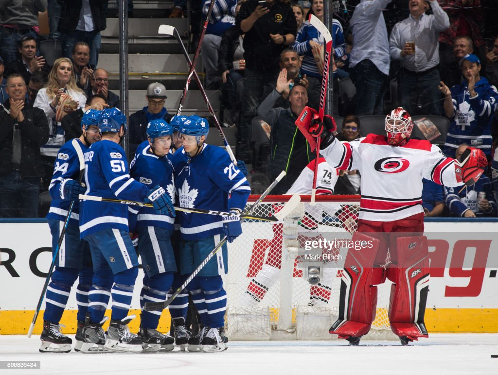 Scott Darling #33 of the Carolina Hurricanes reacts after being scored on by Zach Hyman #11 of the Toronto Maple Leafs during the second period at the Air Canada Centre on October 26, 2017 in Toronto, Ontario, Canada.