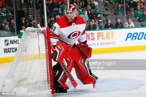 Scott Darling of the Carolina Hurricanes tends goal against the Dallas Stars at the American Airlines Center on October 21 2017 in Dallas Texas