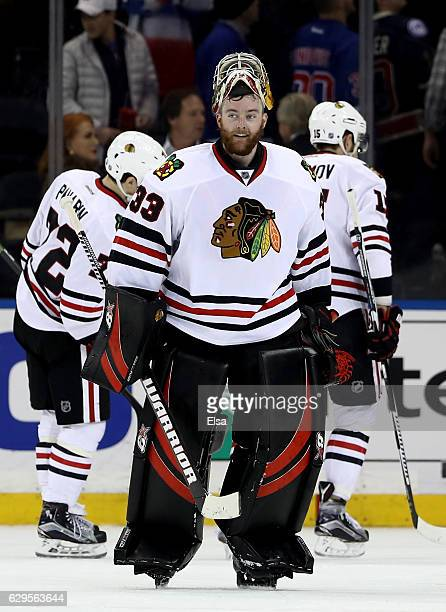 Scott Darling of the Chicago Blackhawks celebrates the wn over the New York Rangers on December 13 2016 at Madison Square Garden in New York CityThe...