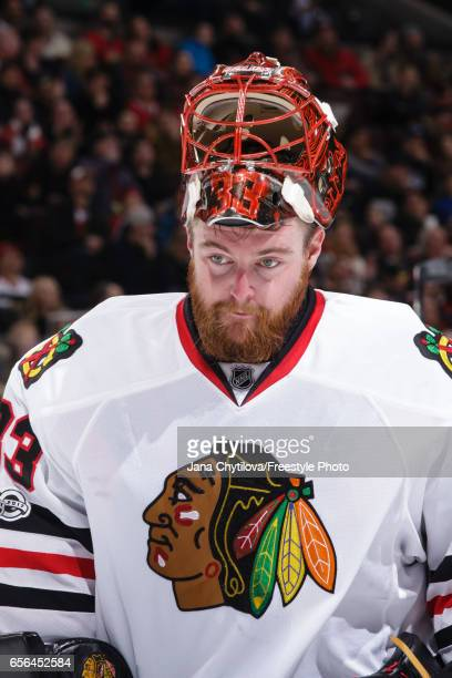 Scott Darling of the Chicago Blackhawks looks on against the Ottawa Senators at Canadian Tire Centre on March 16 2017 in Ottawa Ontario Canada