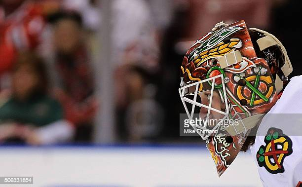 Scott Darling of the Chicago Blackhawks looks on during a game against the Florida Panthers at BBT Center on January 22 2016 in Sunrise Florida