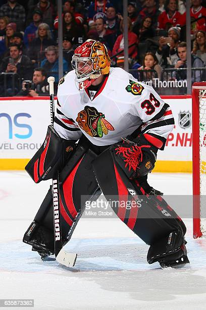 Scott Darling of the Chicago Blackhawks skates against the New York Islanders at the Barclays Center on December 15 2016 in Brooklyn borough of New...
