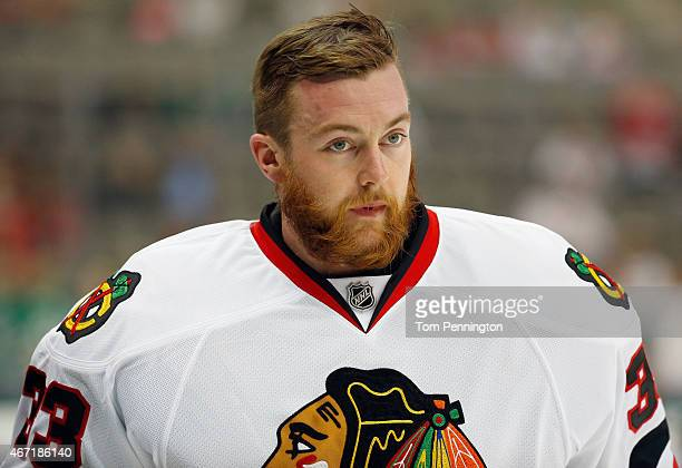 Scott Darling of the Chicago Blackhawks skates during pregame warm up before taking on the Dallas Stars at American Airlines Center on March 21 2015...