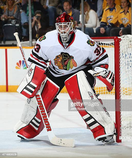 Scott Darling of the Chicago Blackhawks tends net against the Nashville Predators in Game Five of the Western Conference Quarterfinals during the...