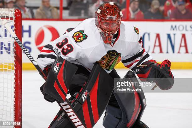 Scott Darling of the Chicago Blackhawks tends net against the Ottawa Senators at Canadian Tire Centre on March 16 2017 in Ottawa Ontario Canada