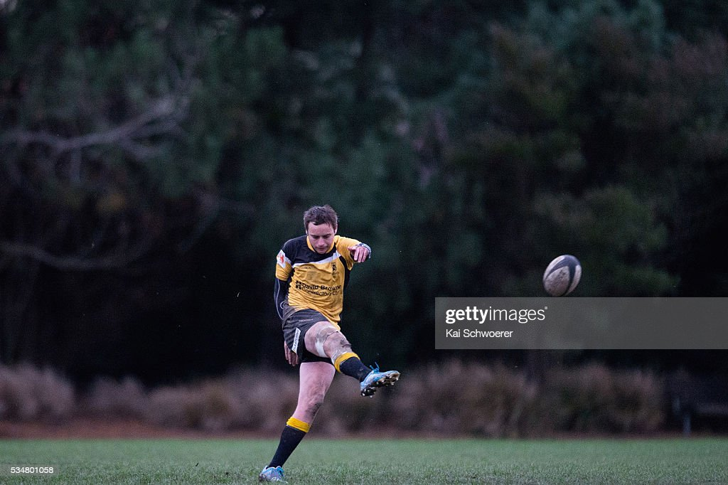 Scott Davidson of New Brighton kicks the ball during the match between New Brighton RFC and Linwood RC on May 28, 2016 in Christchurch, New Zealand.