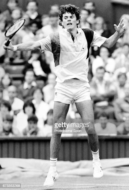 Scott Davis of the United States in action during the Wimbledon Championships held at the All England Lawn Tennis and Croquet Club in Wimbledon...