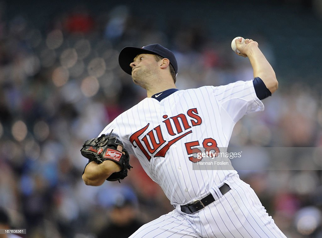 <a gi-track='captionPersonalityLinkClicked' href=/galleries/search?phrase=Scott+Diamond&family=editorial&specificpeople=5751757 ng-click='$event.stopPropagation()'>Scott Diamond</a> #58 of the Minnesota Twins delivers a pitch against the Texas Rangers during the first inning of the game on April 26, 2013 at Target Field in Minneapolis, Minnesota.