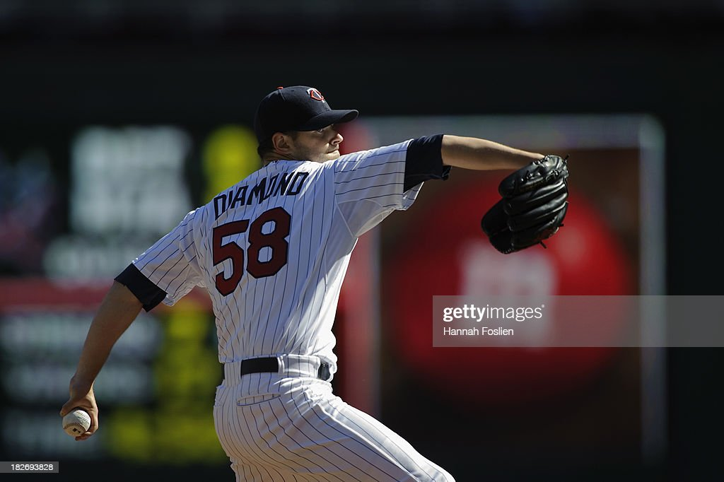 <a gi-track='captionPersonalityLinkClicked' href=/galleries/search?phrase=Scott+Diamond&family=editorial&specificpeople=5751757 ng-click='$event.stopPropagation()'>Scott Diamond</a> #58 of the Minnesota Twins delivers a pitch against the Cleveland Indians during the game on September 29, 2013 at Target Field in Minneapolis, Minnesota. (Photo by Hannah Foslien/Getty Images) ~~~