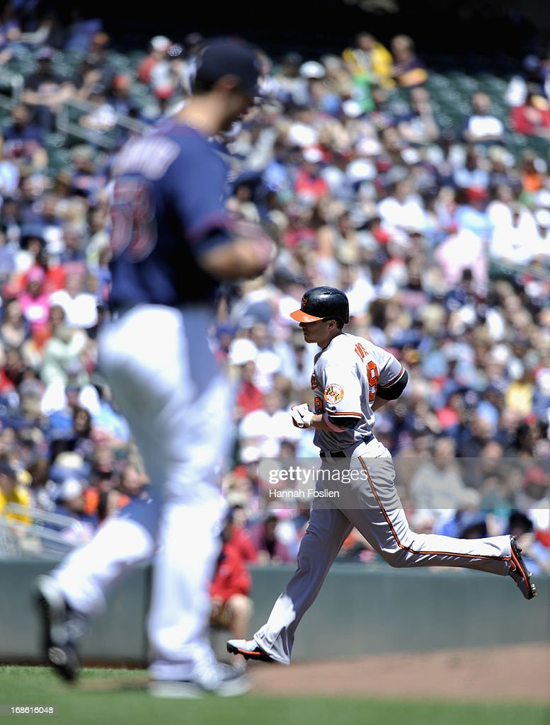 <a gi-track='captionPersonalityLinkClicked' href=/galleries/search?phrase=Scott+Diamond&family=editorial&specificpeople=5751757 ng-click='$event.stopPropagation()'>Scott Diamond</a> #58 of the Minnesota Twins looks on as Chris Davis #19 of the Baltimore Orioles rounds the bases after hitting a two run home run during the first inning of the game on May 12, 2013 at Target Field in Minneapolis, Minnesota.
