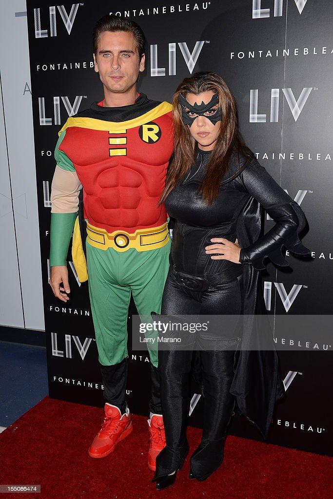 Scott Disick and Kourtney Kardashian arrive at Kim Kardashian's Halloween party at LIV nightclub at Fontainebleau Miami on October 31, 2012 in Miami Beach, Florida.