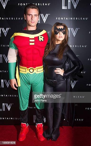 Scott Disick and Kourtney Kardashian arrive at Kim Kardashian's Halloween party at LIV nightclub at Fontainebleau Miami on October 31 2012 in Miami...