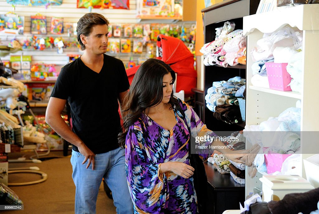 Scott Disick and Kourtney Kardashian go baby shopping at the Juvenile Shop on August 20 2009 in Calabasas California
