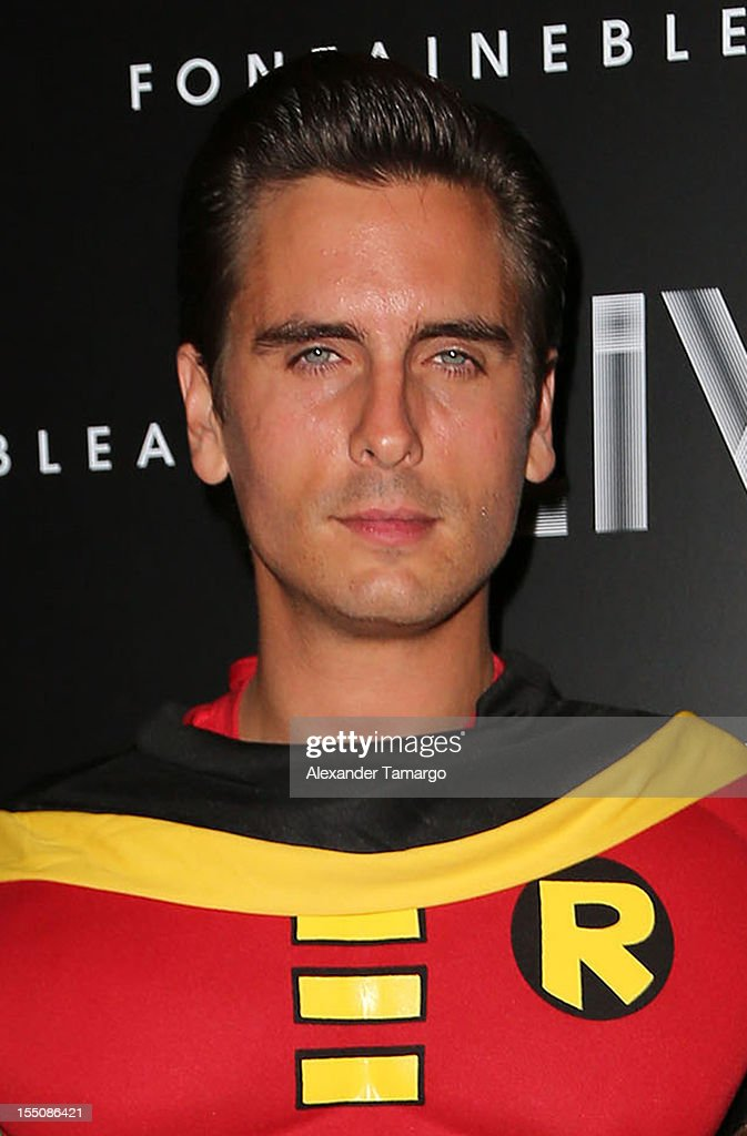 Scott Disick arrives at Kim Kardashian's Halloween party at LIV nightclub at Fontainebleau Miami on October 31, 2012 in Miami Beach, Florida.