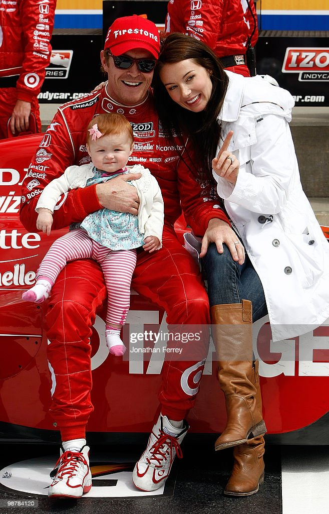 <a gi-track='captionPersonalityLinkClicked' href=/galleries/search?phrase=Scott+Dixon&family=editorial&specificpeople=183395 ng-click='$event.stopPropagation()'>Scott Dixon</a> driver his #9 Target Ganassi Racing Honda Dallara celebrates with is wife Emma and daughter Poppy after winning the Indy Car Series Road Runner Turbo Indy 300 on May 1, 2010 at Kansas Speedway in Kansas City, Kansas.