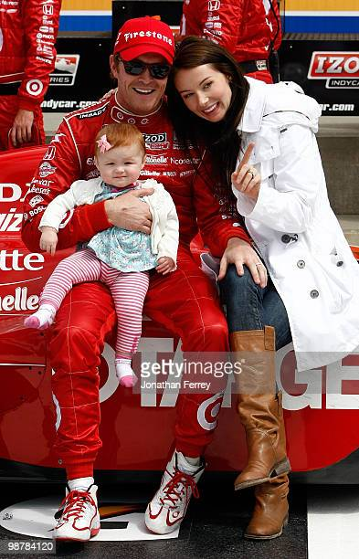 Scott Dixon driver his Target Ganassi Racing Honda Dallara celebrates with is wife Emma and daughter Poppy after winning the Indy Car Series Road...