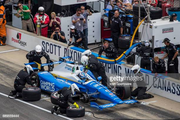 Scott Dixon driver of the Chip Ganassi Racing Honda makes a pit stop during the running of the 101st Indianapolis 500 on May 28th 2017 at the...