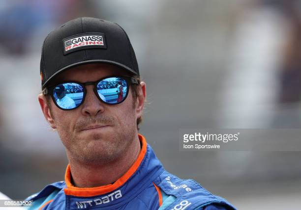 Scott Dixon driver of the Chip Ganassi Racing Honda watches the track action during the IndyCar Qualifications for the Indianapolis 500 on May 20 at...