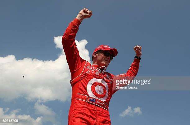 Scott Dixon driver of the Target Chip Ganassi Racing Dallara Honda celebrates after winning the IRL IndyCar Series The Honda Indy 200 at the MidOhio...