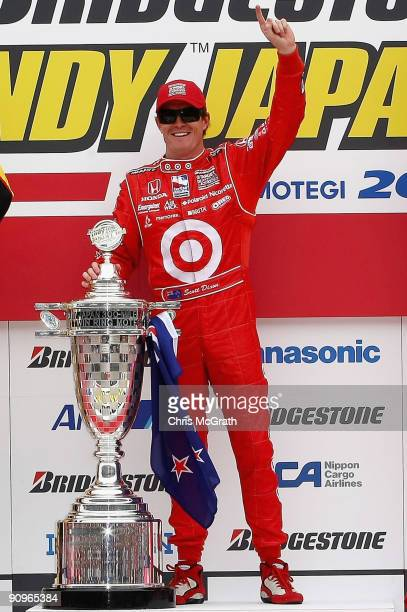 Scott Dixon driver of the Target Chip Ganassi Racing Dallara Honda celebrates victory during the IndyCar Series Bridgestone Indy Japan 300 Mile on...