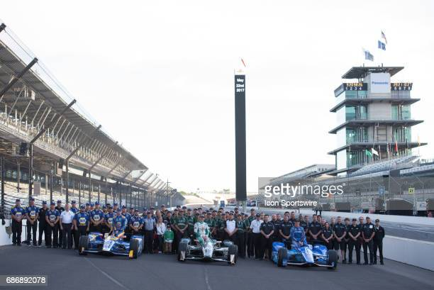 Scott Dixon Ed Carpenter and Alexander Rossi and their teams during the Front Row Photo Shoot for the 101st Indianapolis on May 22 at the...