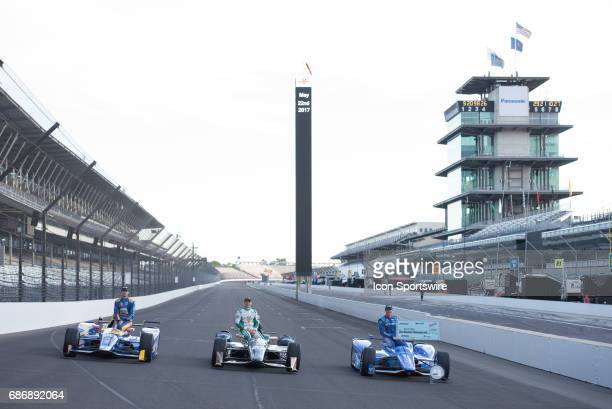 Scott Dixon Ed Carpenter and Alexander Rossi during the Front Row Photo Shoot for the 101st Indianapolis on May 22 at the Indianapolis Motor Speedway...