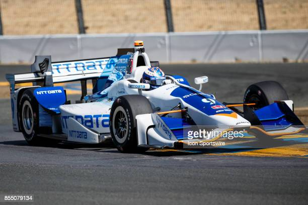 Scott Dixon in the Honda powered NTT Data IR12 at the bus stop during warmup for the Verizon Indycar Series GoPro Grand Prix of Sonoma held at Sonoma...